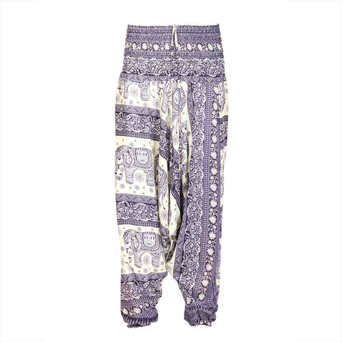 Low Cut Harem Pants Purple White Elephant 1