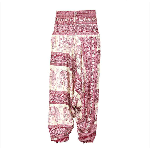 Low Cut Harem Pants Red White Elephant 1