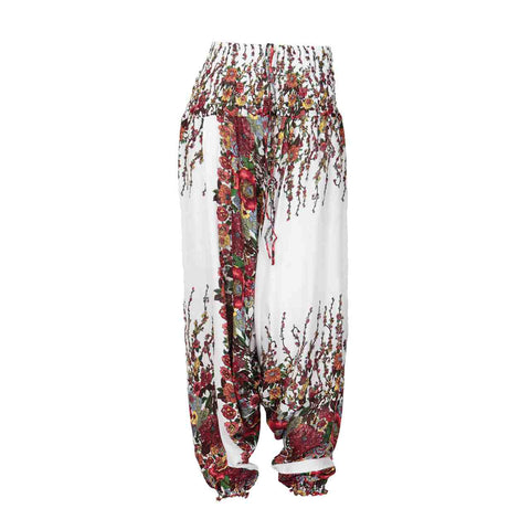 Low Cut Harem Pants White Floral Print 1