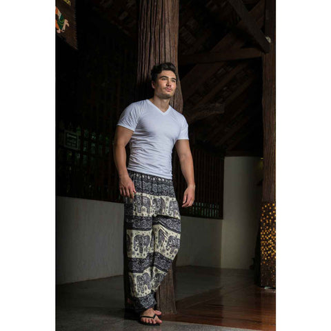 Mens Harem Pants Black White Elephant 1
