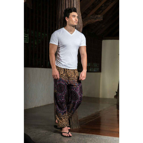 Mens Harem Pants Gold Black Purple Mandala 1