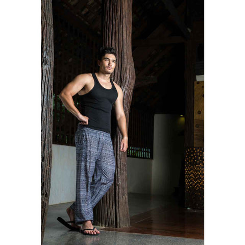 Mens Harem Pants Grey Tribal 1