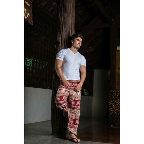 Mens Harem Pants Red White Brown Elephant 1