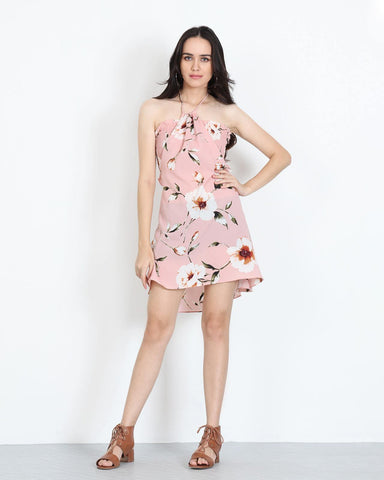 Mini Dress Tube Top in Pink Floral 1