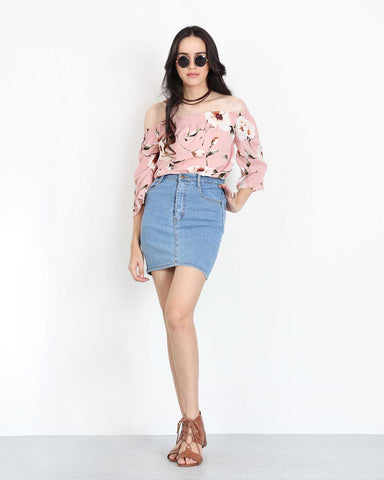 Off Shoulder Floral Sleeve Top in Pink 1