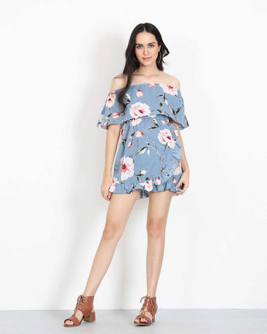 Off Shoulder Mini Dress in Blue Floral 1