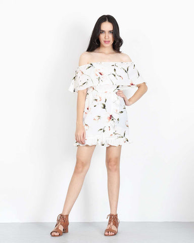 Off Shoulder Mini Dress in White Floral 1