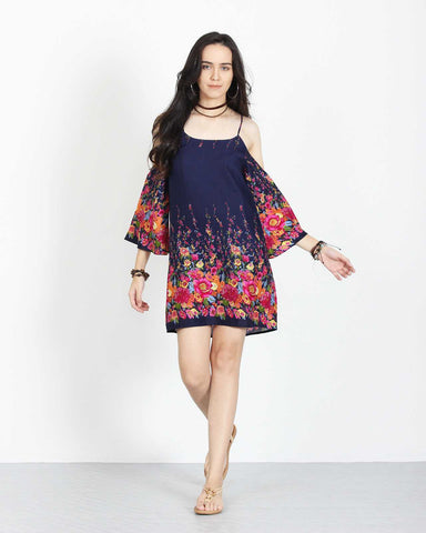 Open Shoulder Dress Dark Blue Floral 1
