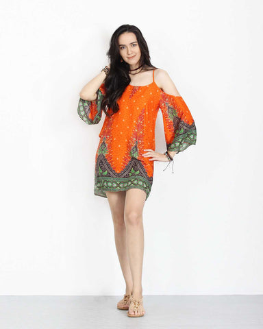 Open Shoulder Dress Orange 1