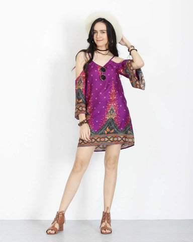 Open Shoulder Dress Purple 1