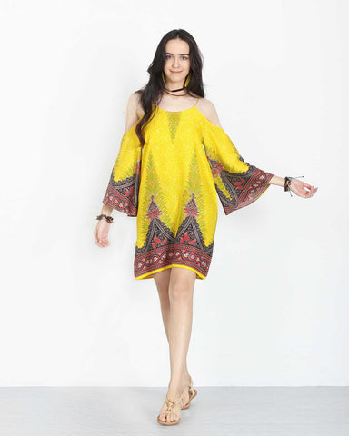 Open Shoulder Dress Yellow 1