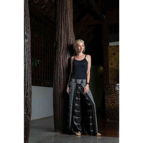 Palazzo Pants Grey Black Peacock 1