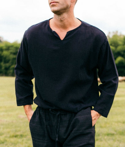 Black Cotton Long Sleeve Shirt