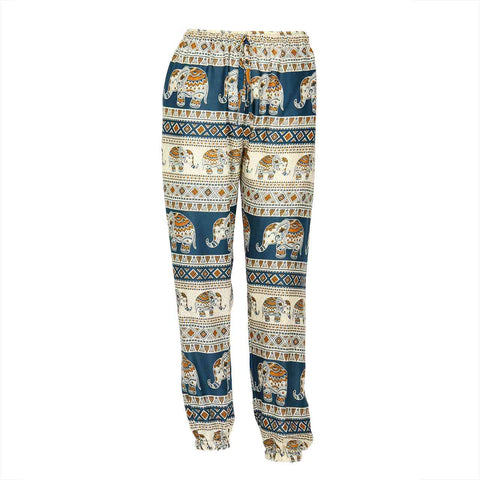 Slim Fit Harem Pants Blue Brown Elephant 1
