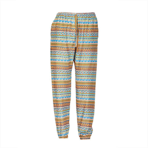 Slim Fit Harem Pants Blue Orange Tribal 1