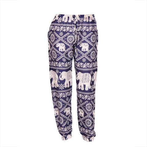 Slim Fit Harem Pants Blue White Elephant 1