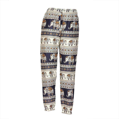 Slim Fit Harem Pants Dark Blue Brown Elephant 1