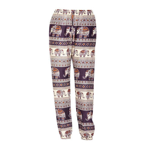 Slim Fit Harem Pants Dark Purple Brown Elephant 1