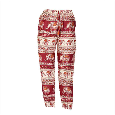Slim Fit Harem Pants Red Brown Elephant 1
