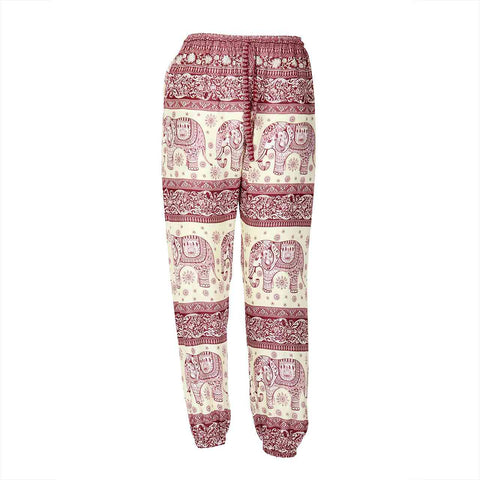 Slim Fit Harem Pants Red White Elephant 1