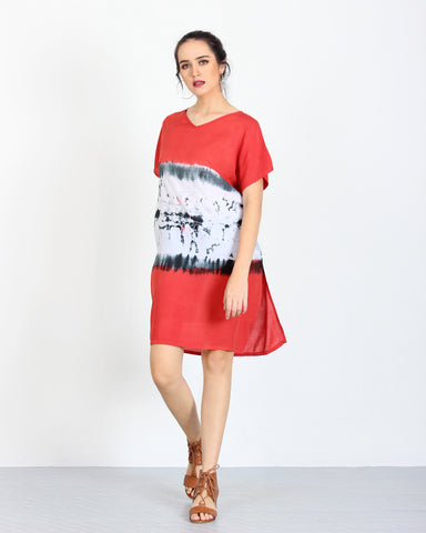 Tie Dye Dress Red 1