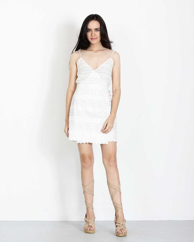 Wrap Mini Dress White Broderie 1