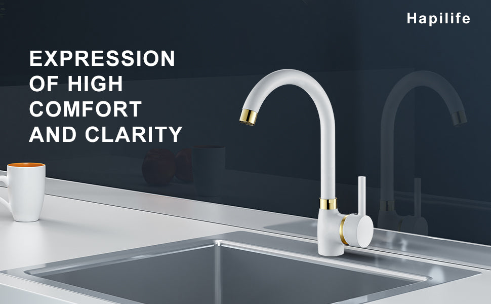Hapilife White Kitchen Tap Gold Spout Single Lever Swivel Spout, Sink Mixer Tap