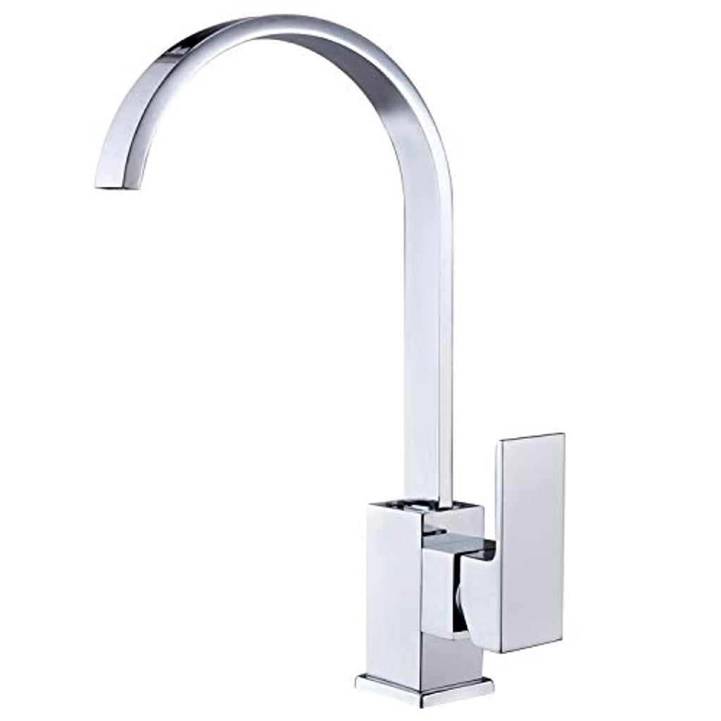 Hapilife Kitchen Sink Taps Mixers Square Single Lever Monobloc Chrome Brass Waterfall Flat Spout Modern Swivel with Hoses and Fittings