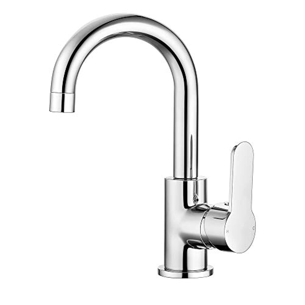 Funime Modern Basin Taps Mixers Bathroom Sink Taps Chrome Brass Single Lever with UK Standard Fittings