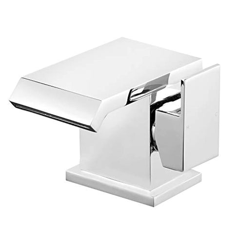 Funime Square Basin Taps Waterfall Mixers Bathroom Sink Mixer Taps Chrome Brass Single Lever with UK Standard Fittings