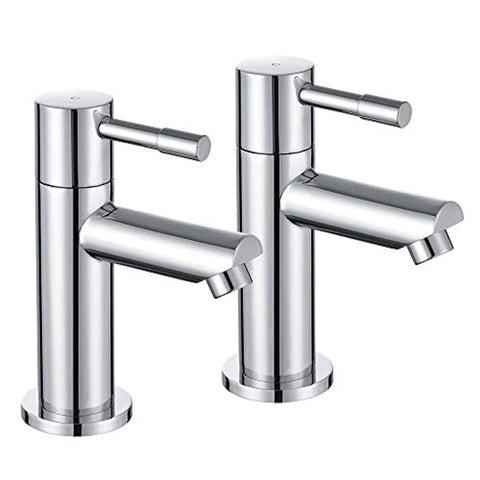 Bath Tap Pair of Hot and Cold Bathroom Tub Taps Chrome WasserRhythm