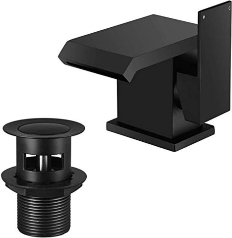 Black Basin Taps Waterfall with Pop-up Waste Modern Square Bathroom Sink Taps Brass with Hoses