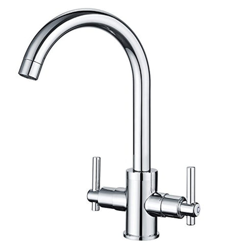 Funime® Kitchen Sink Mixer Taps Traditional Dual Lever Monobloc Swivel Spout Chrome Brass