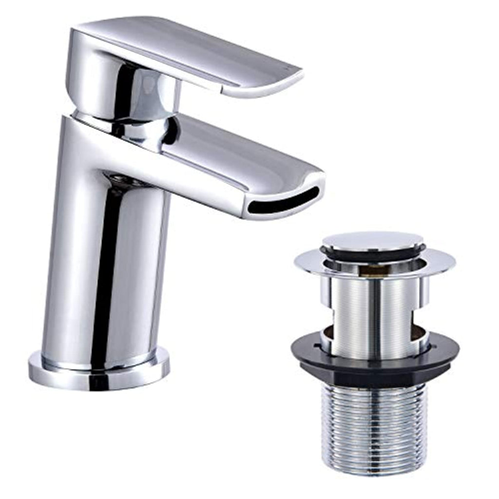 Hapilife Leaning Basin Taps with Pop up Waste Waterfall Bathroom Sink Mixer Tap Monobloc Chrome Brass Single Lever