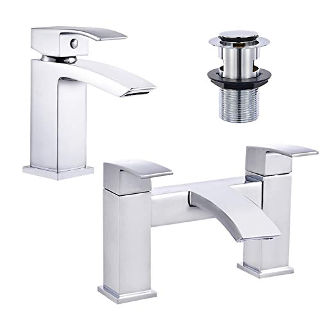 Celala Bathroom Waterfall Basin Taps with Pop-up Waste and Square Bath Taps Set Chrome Brass Sink Mixers