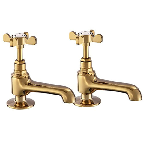 Basin Tap Pair Golden Basin Sink Hot and Cold Taps Gold Cross Handles Bathroom Taps Traditional Bathroom Faucet Vintage Peppermint