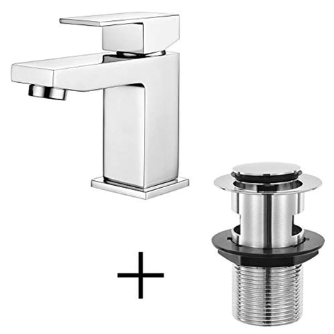 Hapilife Basin Taps Square Bathroom Sink Mixer Taps with Pop up Waste and UK Standard Hoses
