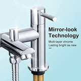WasserRhythm Bath Taps with Shower Bathroom Tub Taps Dual Lever Mixers Monobloc Chrome Brass