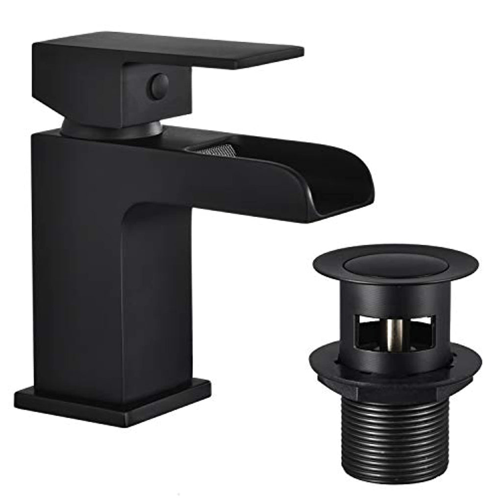 Funime Black Square Basin Taps with Pop up Waste Waterfall Semi-Open Bathroom Sink Taps Brass