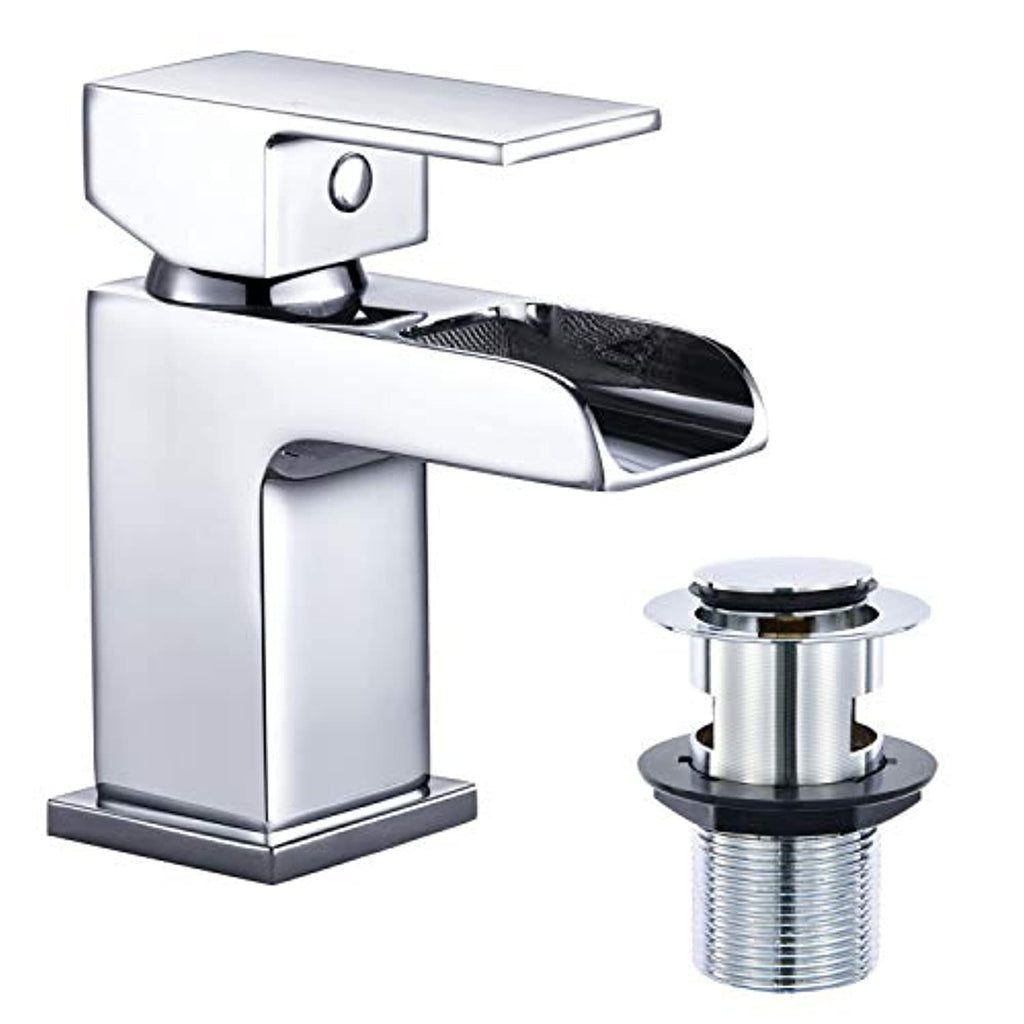 Funime Waterfall Basin Taps Square Bathroom Sink Mixer Tap Monobloc Chrome Brass with Pop-up Waste