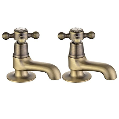 Basin Tap Pair Antique Bronze Sink Mixer Taps Cross Handles Bathroom Faucets Monobloc Peppermint