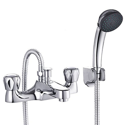 Funime Bathroom Bath Taps with Shower Attachment Mixers Chrome Brass Bath and Shower Taps