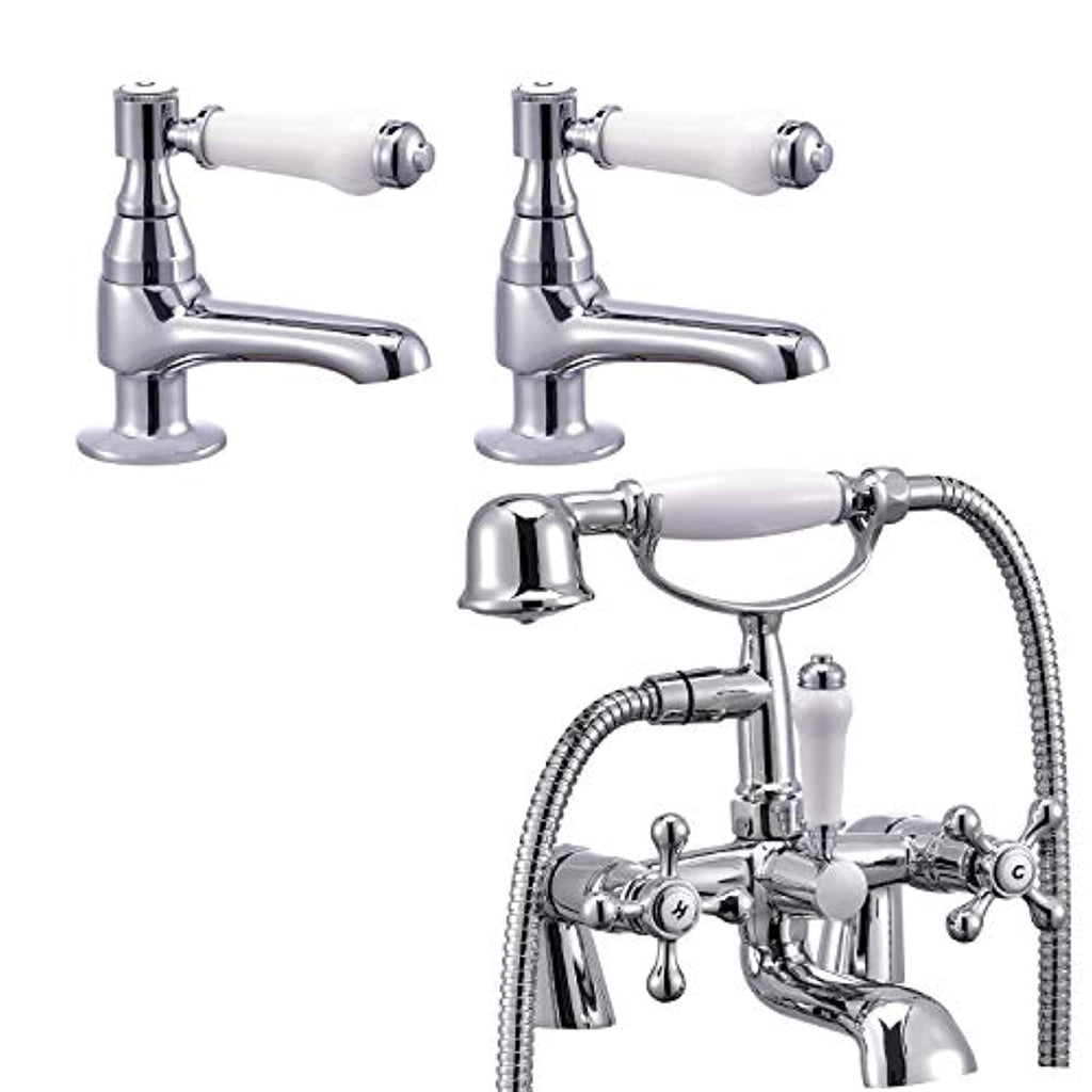 Funime Victoria Traditional Bathroom Bath Shower Taps 1/4 Turn Handheld and Basin Taps Pairs with UK Standard Fittings