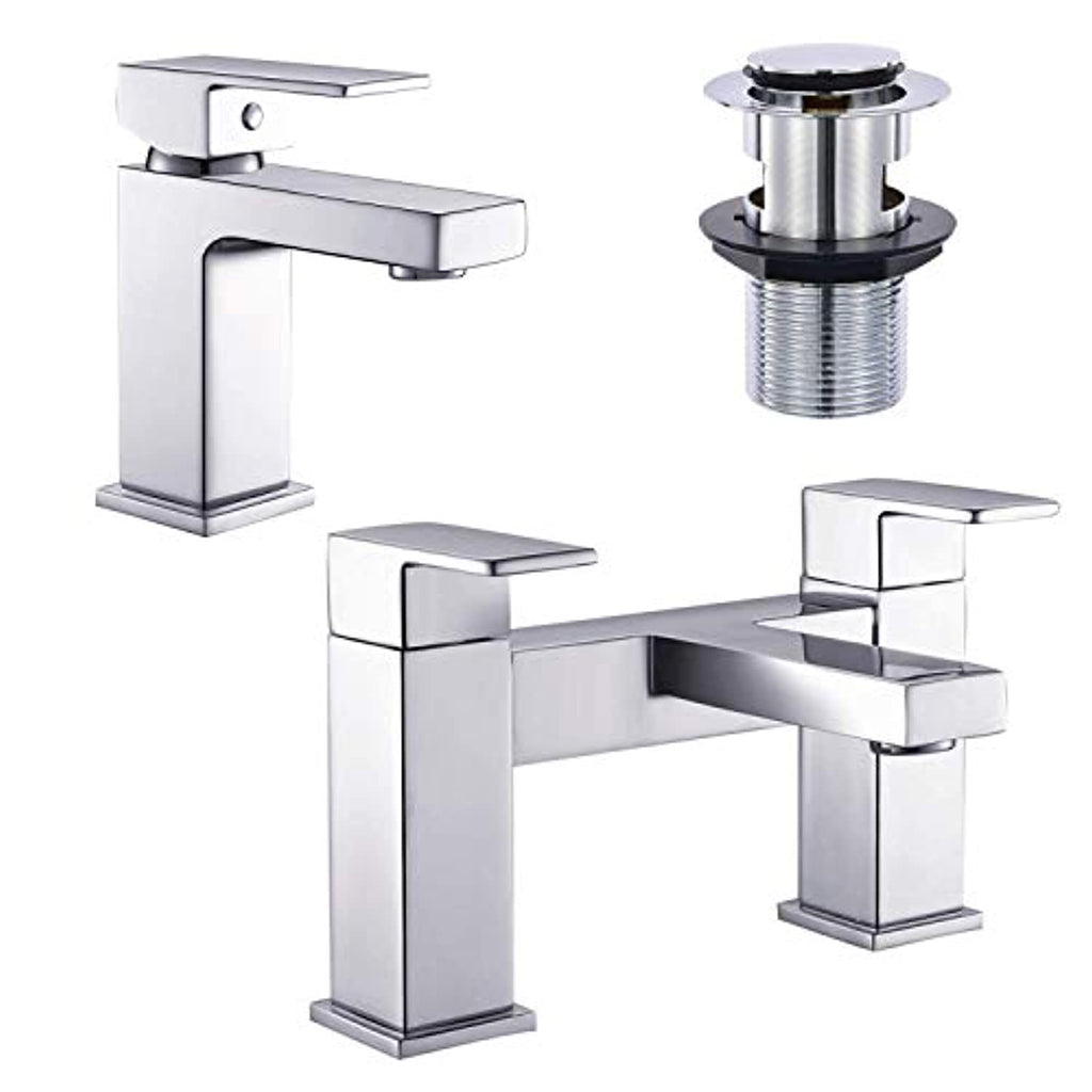 [Basin Tap and Bath Tap] Hapilife Modern Monobloc Bathroom Sink Mixer Faucet and Tub Filler Tap Chrome