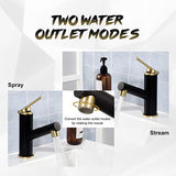 Hapilife Pull Out Basin Taps Mixers Black and Brushed Gold Finish Bathroom Sink Taps Brass
