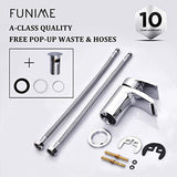 Funime Bathroom Basin Taps Mixer Mono Chrome Brass Single Hole with Pop up Waste
