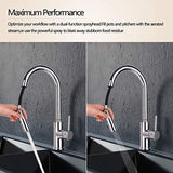 Pull Out Pull Down Kitchen Mixer Tap High Arc with Dual Spray Mode Single Handle Single Lever Chrome Finished 10 Year Warranty