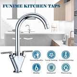 Funime® Kitchen Sink Mixer Taps Monobloc Swivel Spout Chrome Brass Dual Lever with Hoses
