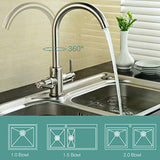Funime Brushed Kitchen Sink Taps Mixers Traditional Dual Lever Monobloc Swivel Spout Brass