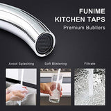 Funime Traditional Kitchen Sink Mixer Tap Elegant Ceramic Dual Lever Monobloc Swivel Spout Chrome